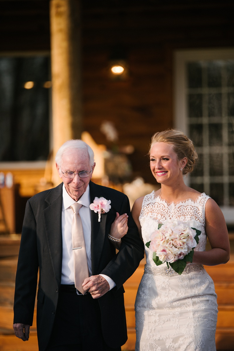 walking down the isle at knotty pine lodge