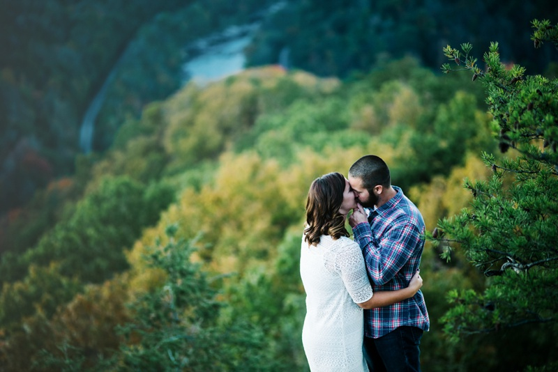 engagement photo in west virginia on the new river gorge