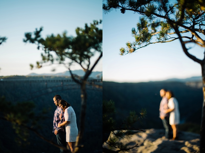 new river gorge engagement photo in west virginia