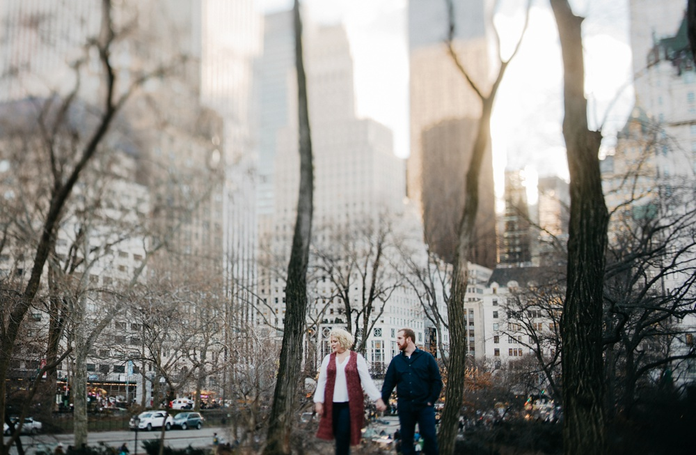 romantic winter engagement portraits in NYC