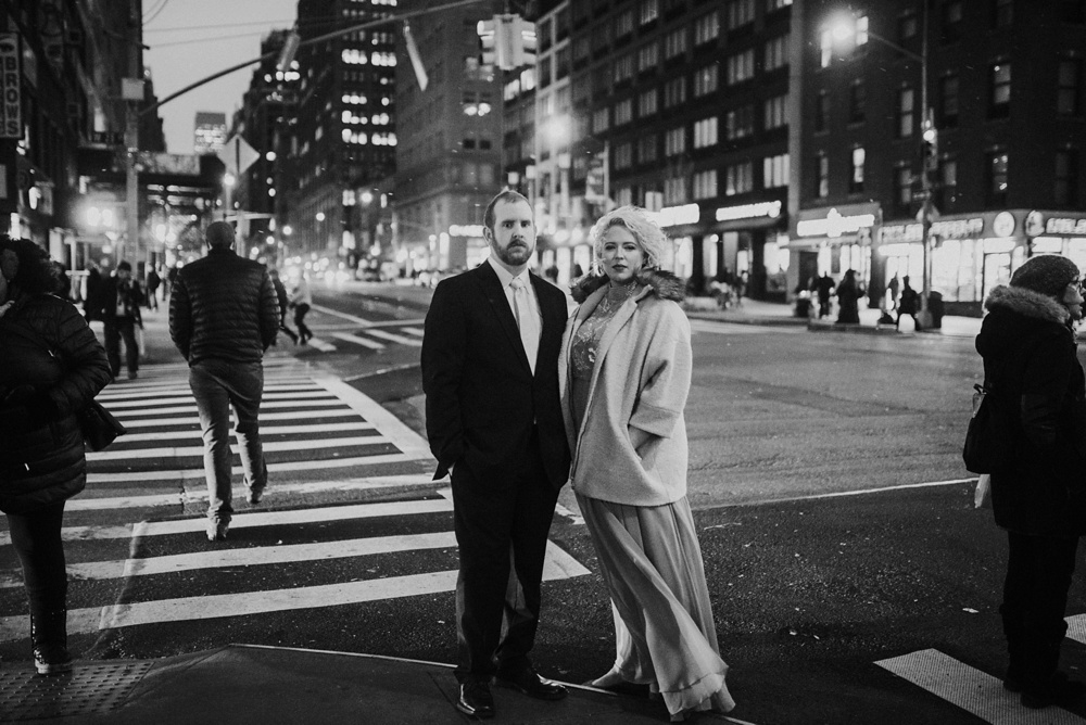 romantic winter editorial engagement photo NYC