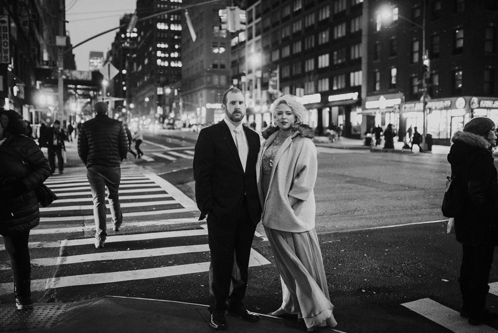 romantic winter editorial engagement photo NYC