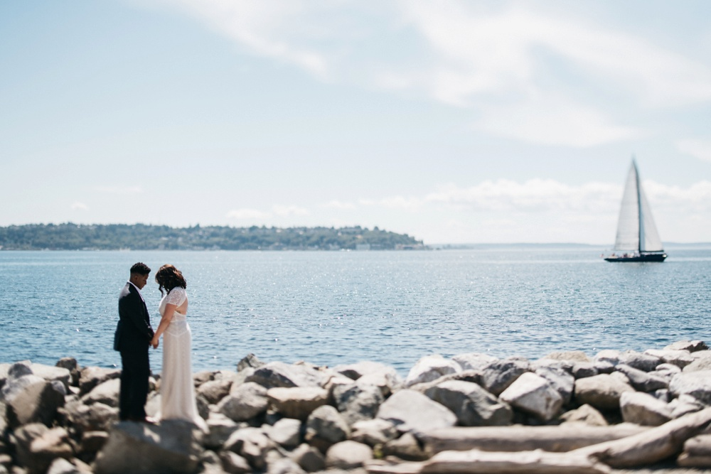 seattle wedding portraits in olympic sculpture park