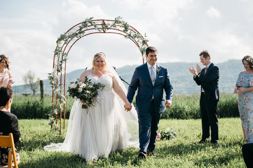wedding ceremony photos taken at valley view farm in lewisburg, west virginia