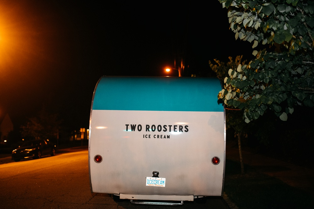 wedding photography taken in raleigh, north carolina of two roosters ice cream
