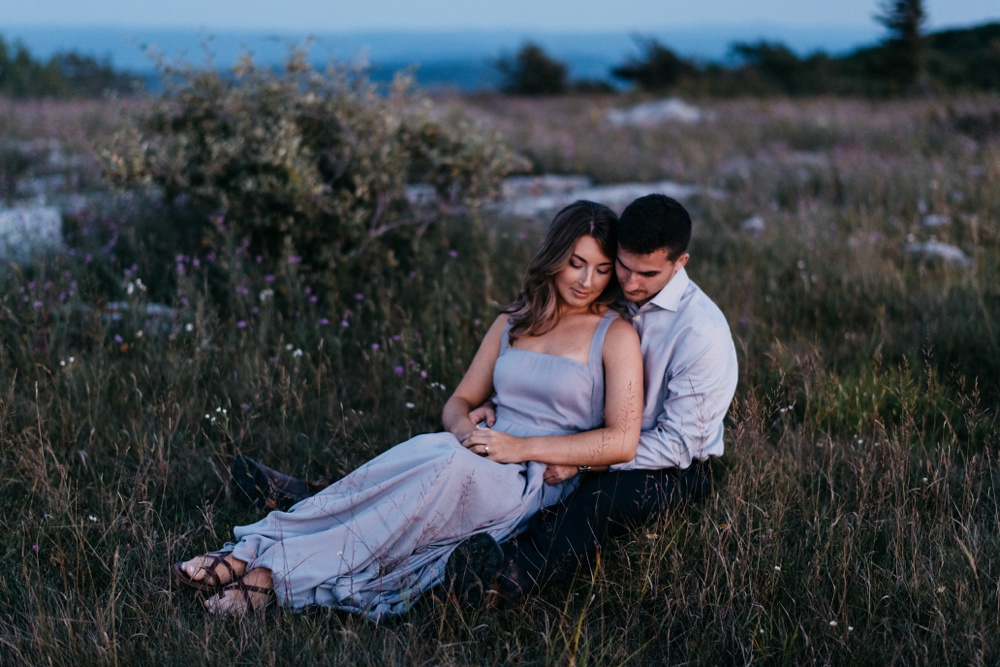 twilight engagement photos taken at dolly sods in wv