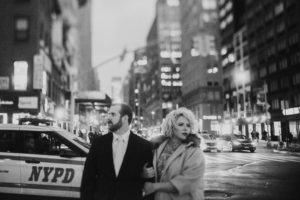 romantic winter NYC engagement portraits