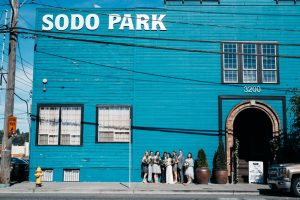 sodo district wedding portraits in seattle washington